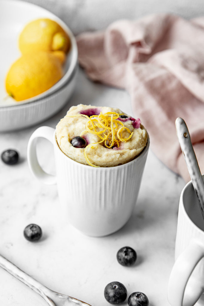 Vegan Easy Gluten Free Lemon Blueberry Mug Cake Early Brawd