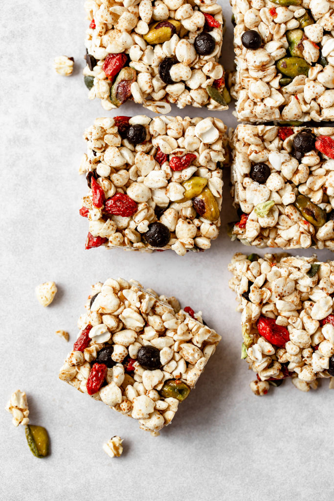 Vegan healthy gooey mendiant Krispie Treats bars