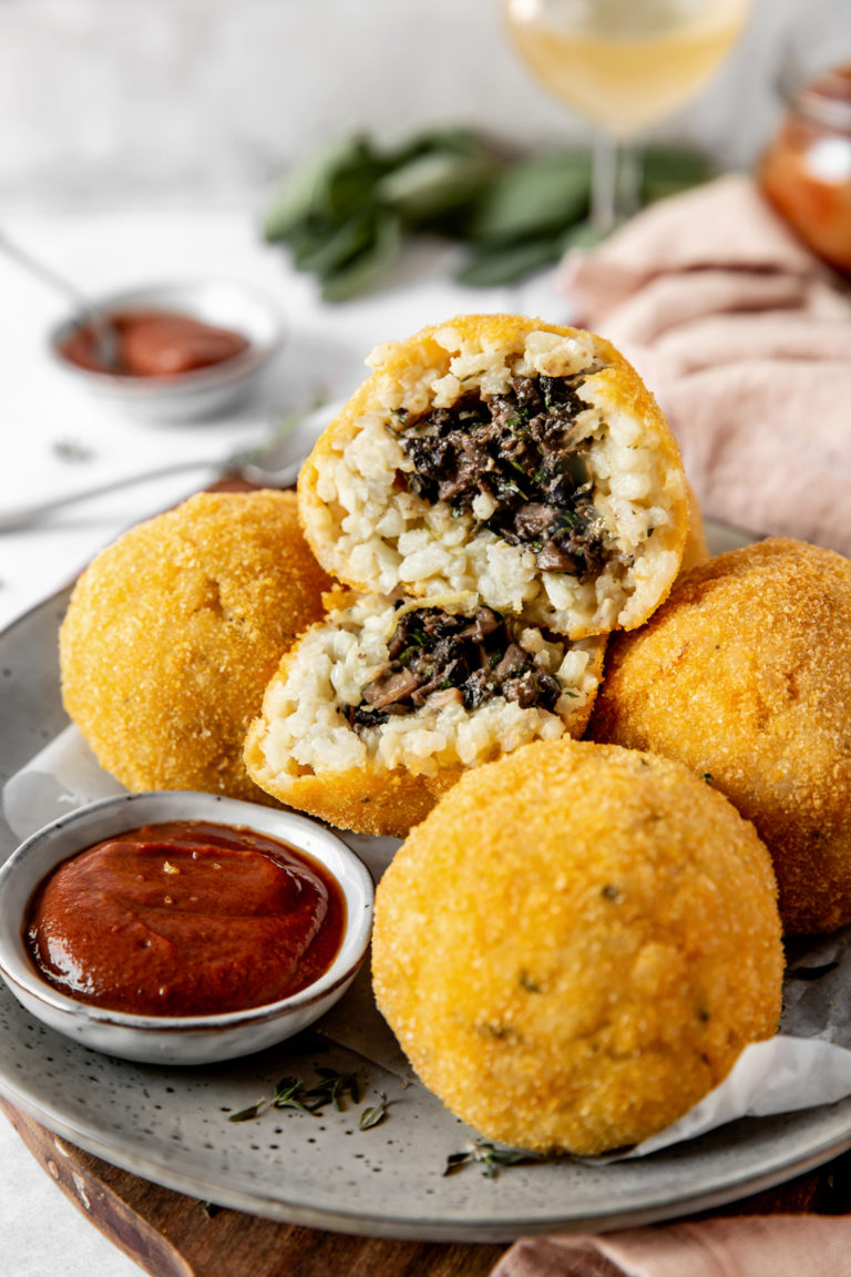 Vegan arancini with mushroom and hoisin sauce